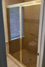 Bryn Mawr Glass custom shower door before removing frame