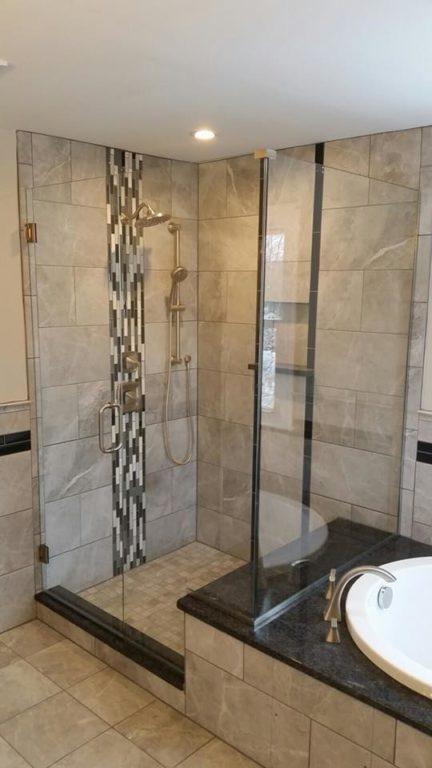 Frameless glass shower door in a corner